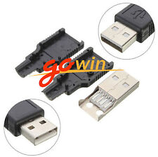 10PCS  USB2.0 Type-A Plug 4-pin Male Adapter Connector jack&Black Plastic Cover