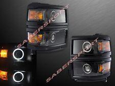 Pair Dual Projector Headlights w/ Halo Rims (Black) for 2014-2015 Silverado 1500