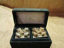 Vtg Godinger Silver Gold Bow Salt & Pepper Shakers in Neiman Marcus Velvet Box