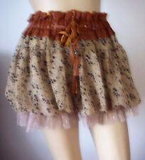 FREESIA Beige Tan Sparkle Spotted Tassel Elastic Waist Netted Mini Skirt Size S