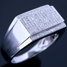 MEN'S PAVE NATURAL DIAMONDS 925 STERLING SILVER WEDDING ENGAGEMENT FINE RING