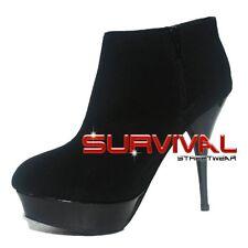 Womens Boots Size 6 7 8 Black Leopard Platform Ankle Stiletto High Heels Shoes