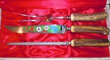 ANTON WINGEN JR SOLINGEN ROSTFREI OTHELLO CARVING STAG KNIFE SET FLORAL ENGRAVED