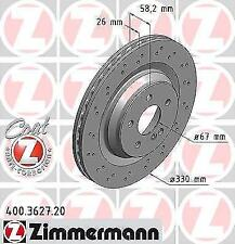 ZIMMERMANN 400.3627.20 Brake Disc Rotor PAIR Suit to Mercedes Benz REAR DISCS 40