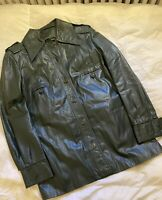 Vtg Green Leather Jacket Button Front Women's Mid Length Coat