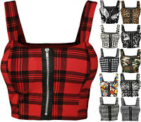 New Womens Print Zip Bandeau BoobTube Ladies Padded Strap Crop Bralet Top 8 - 14