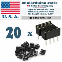 20pcs Dip-8 IC Socket Solder Type Double Row 8PIN DIP Integrated Circuit