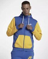 Men's Nike Sportswear Archive Full-Zip Hoodie Blue Yellow Size L AV3624 403