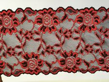 Black and red embroidered nylon lace fabric trim 1 meter width 16 cm