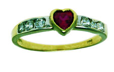 New 14k Solid Yellow Gold Red Heart Stone Solitaire Ring 1.7 Gram Size 7.5