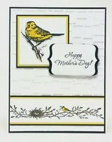 Handmade Stampin Up Mother's Day Card Embossed Yellow Bird