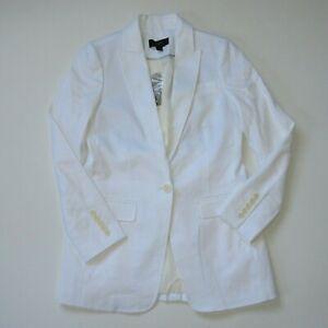 NWT J.Crew Long Parke Blazer in White Stretch Linen Single Button Jacket 0