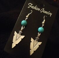 Turquoise Spear Head Arrow Earrings Native American Indian Silver Charm **UK**