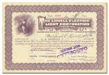 Lowell Electric Light Corporation Stock Certificate