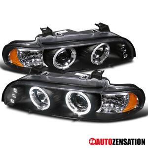 For 1996-2003 BMW E39 528i 540i Black Halo Projector Headlights+LED Left+Right