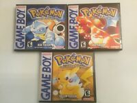 *NEW* Pokemon Red, Blue, + Yellow Game Cases - Game Boy GB Cases - *NO GAME*
