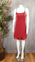 Vintage Silky Satin Red Slip Dress Women 2 Sexy Sleeveless 90s Layer Chiffon