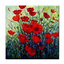 Field of Poppies Ceramic Tile Coaster BBQ Home Mosaic Feature Wall Tile Plaque