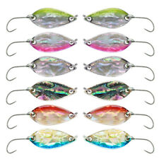12pcs Metal Jig Fishing Lures 2.8g 4g Leaf Spoons 6 Colors Ice Bait Trout Pike