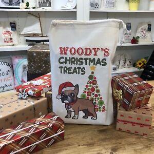 Personalised Dog Santa Sack Treat Bag - French Bulldog  - Woody Design