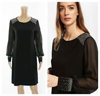 ex Wallis Long Sleeve Jewell Embellished Swing Dress