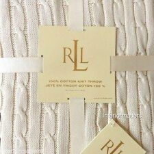 RALPH LAUREN CABLE KNIT 100% COTTON THROW BLANKET Cream Ivory POLO new