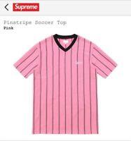Supreme SS16 Pinstripe Soccer Top Pink Size Medium M Tee Shirt