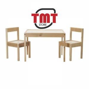 New Ikea LATT Children's Table with 2 Chairs Wooden Pine Wood Kids Furniture Set