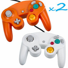2 Brand New Controller for Nintendo GameCube or Wii -- Orange and White