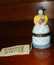 CAROL ENDRES woman GRAPES wine painted porcelain TRINKET BOX figurine