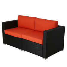 2pcs Outdoor Patio Furniture Sectional PE Wicker Rattan Sofa Set Orange
