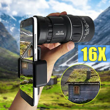 Universal Telescope Monocular HD 16x52 Hiking Camera Lens+Clip For Cell Phone