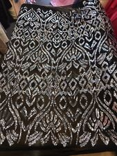 BLACK-SILVER GEOMETRIC DESIGN EMBROIDERY SEQUINS ON A 4 WAY STRETCH MESH-BY YARD