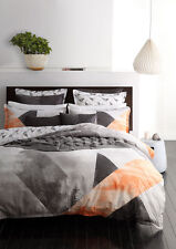 Logan and Mason NEO ORANGE Geometric Double Bed Size Doona Duvet Quilt Cover Set