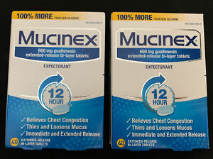 Lot Of 2 Mucinex Decongestant 600 mg 40 Tablets Expires 02/2022