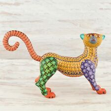 A1504 Panther Alebrije Oaxacan Wood Carving Painting Handcrafted Folk Art Mex