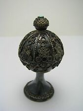 A STERLING SILVER BOX SPICE BOX BESAMIM FILIGREE TURQUOISE Israel 1960s Judaica
