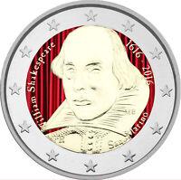 2 Euro Gedenkmünze San Marino 2016 coloriert / mit Farbe - Farbmünze Shakespeare