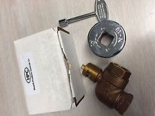 HPC 3/4 Inch Angle Gas Fire Pit Shut Off Valve Kit with Polished Chrome Flange