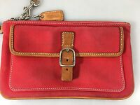 Coach Red Twill Fabric Tan Leather Long Wristlet w Hang Tag