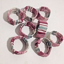 Napkin Rings Holders Set of 8 Fabric Cloth wrapped Stripped Sturdy plastic