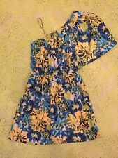 Angie One Shoulder Jewel Tone Floral Dress Juniors Large