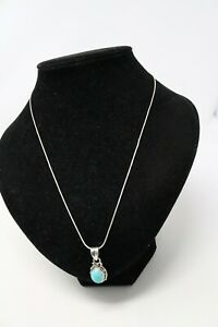 Great Vintage Sterling Silver 925 Turquoise Pendant & Snake Link Chain Necklace