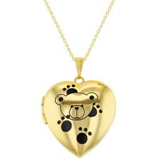 Gold Tone Heart Photo Teddy Bear Paws Kids Locket Pendant Necklace 16""