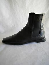 Chanel Black Leather Chelsea Ankle-Boots Flat Rubber Sole Elastic-Inserts 38