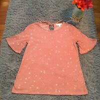 LC Lauren Conrad Womens Pink Floral Short Sleeve Top With Keyhole Size S