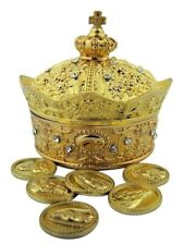 My First Holy Communion Gift Gold Plated Metal Crown Jewelry Box with Tokens