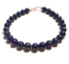 Lapis Lazuli Bracelet, 9ct Gold Clasp, Natural Gemstone Beads, 7.5 Inch