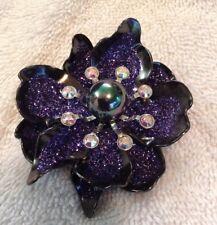 Stunning Joan Rivers Glittery Black Amethyst 3D Flower Pin Brooch~Estate