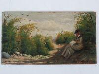 "Horace DUCHENE DE VERE (XIX-XX) - Gemälde ""Rastende Dame am Wegesrand"" um 1880"